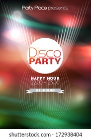 Disco Party Poster Background Template - Vector Illustration