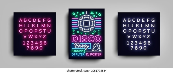 Disco party poster neon banner. Nightclub party, neon style flyer, disco ball, musical night posters template, neon advertising party, concert, disco. Vector Illustrations. Editing text neon sign