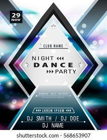 Disco party poster template. Modern layout for your design.