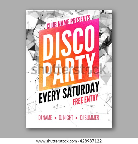 disco party poster template night dance stock vector royalty free