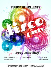 Disco party poster template. Vector design
