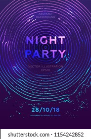 Disco party poster vector template with liquid flow particles background for music event flyers, banners and posters. Eps10 vector illustration