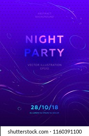 Disco party poster vector template with liquid flow particles and lines background for music event flyers, banners and posters. Eps10 vector illustration