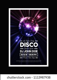Disco party vector background with rays and disco ball