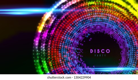 Disco party vector banner shining colored spotlights background