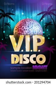 Disco poster. Disco background.