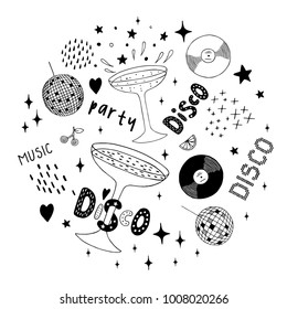 Disco set - abstract isolated design elements. Cocktail, vinyl, disco ball. Hand drawn vector black and white illustrations. Cartoon, doodle.