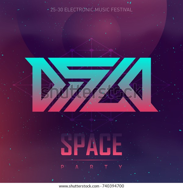 Disco Space Party Electronic Music Festival Stock Vector