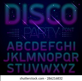 Disco style alphabet, modern shiny letters. Best for use for posters, cards, party flyers and web design. Vector illustration