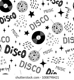 Disco style - cocktail, vinyl, disco ball seamless pattern. Hand drawn vector black and white illustration. Cartoon doodle. Background, wallpaper. Colouring page. Web, print, fabric texture.