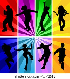 Disco styled vector silhouettes of kids, children, dancing, jumping at a party