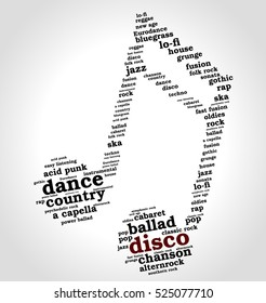 Disco. Word cloud, musical notes, gradient gray background. Variety of music.