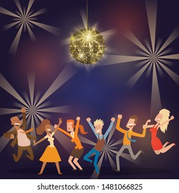 Discoball in bar banner, poster vector illustration. People dancing at party. Women and men having fun, performing. Shining disco ball. Fast music in night club. Evening entertainment.