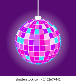 Discoball with rays from square, hanging purple mirrorball with light. Element of night club or party, glowing equipment, shiny globe, nightlife vector