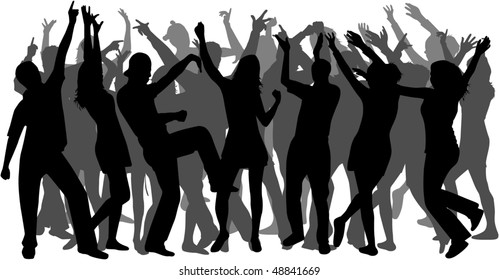 Disco-dancing to a large group of people