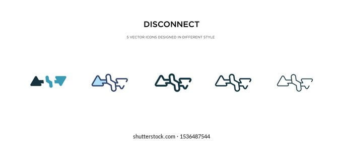 disconnect icon in different style vector illustration. two colored and black disconnect vector icons designed in filled, outline, line and stroke style can be used for web, mobile, ui