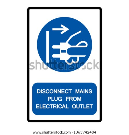 Disconnect Mains Plug Electrical Outlet Symbol Stock Vector Royalty