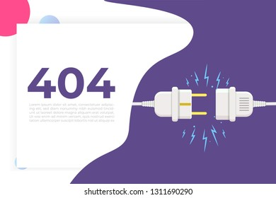Disconnect Plug, 404 Error, page not found. Vector illustration flat design.