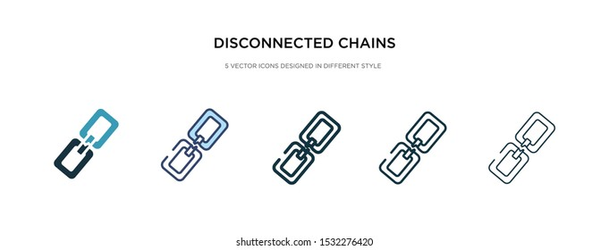 disconnected chains icon in different style vector illustration. two colored and black disconnected chains vector icons designed in filled, outline, line and stroke style can be used for web,