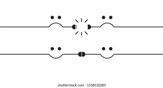 Disconnected electric wire or wireless wifi signal illustration with sad face. Internet disconnection, wi fi loss. And connected plug with happy face. Unplugged, broken connector. Vector illustration.