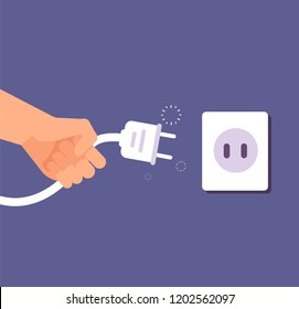 Disconnected plug. Connection or disconnection of electricity with wire plug and socket. 404 error, page not found vector concept. Electric disconnect wire, electricity socket and plug illustration