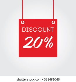 Discount 20% on board hanging red