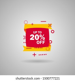 Discount up to 20 percent Off, Red Sale Sticker on white background. Special offer sale red label. Vector Modern Sticker Illustration flat style. Sale Discount Banner, offer price tag.