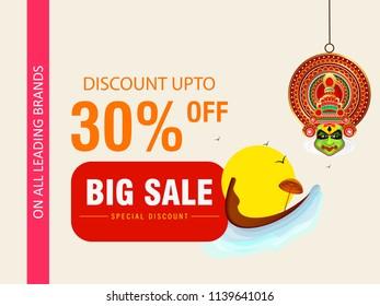 Discount 30% Off, Big Onam Sale Banner Design.