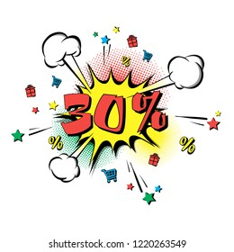 Discount 30 percent comic style on background with bubbles. Comic bang with thirty percent. Pop art retro style. Realistic puffs smoke and stars, gifts, trolley, percentages. Vector illustration