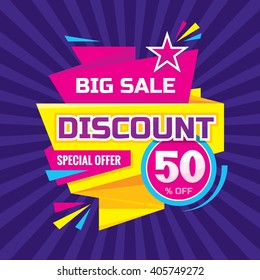 Discount 50 % off - advertising vector banner in origami retro style. Big sale layout. Special offer concept sticker.