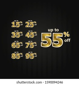 Discount up to 55% off Label Price Gold set Vector Template Design Illustration