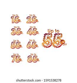 Discount up to 55% off Label Sale Line Gradient set Logo Vector Template Design Illustration