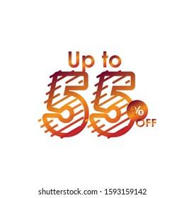 Discount up to 55% off Label Sale Line Gradient Logo Vector Template Design Illustration