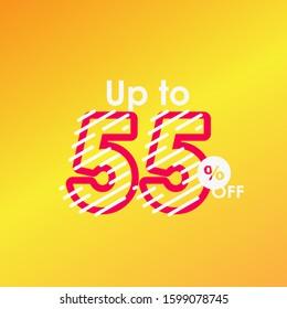 Discount up to 55% off Label Sale Line Logo Vector Template Design Illustration