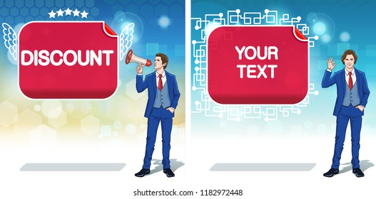 Discount advertisement concept clipart. Announce banner template. Shop invitation cards. Colorful cartoon characters. Vector illustration.