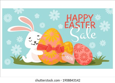 Discount banner. Easter eggs, bunny grass with a gift egg. Easter discounts. Vector illustration. For banners, flyers of the main page of the site