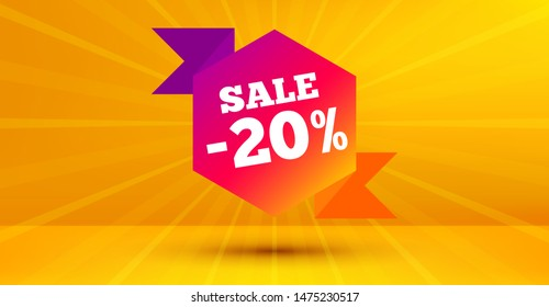 Discount banner shape. Sale 20 percent off badge. Coupon bubble icon. Abstract yellow background. Modern concept design. Banner with offer badge. Vector