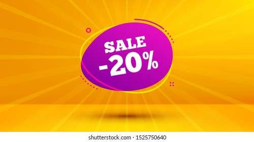 Discount banner shape. Sale 20% off badge. Coupon bubble icon. Abstract yellow background. Modern concept design. Banner with offer badge. Vector