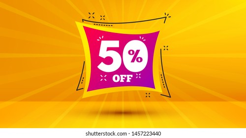 Discount banner shape. Sale 50% off badge. Coupon bubble icon. Abstract yellow background. Modern concept design. Banner with offer badge. Vector