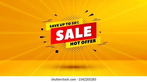 Discount banner shape. Sale 50% off badge. Hot offer icon. Abstract yellow background. Modern concept design. Banner with offer badge. Vector