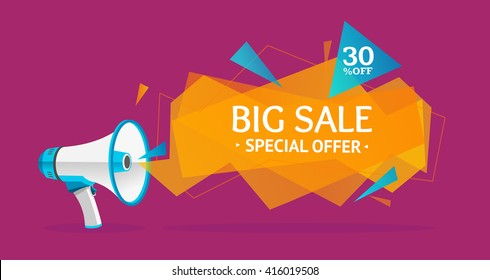 Discount Banner Sticker with Megaphone. Big Sale. Vector illustration