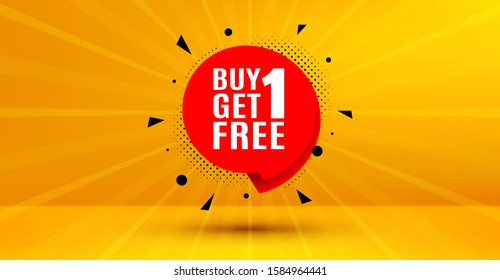 Discount banner tag. Buy 1 Get 1 Free badge. Coupon icon. Abstract yellow background. Modern concept design. Banner with offer badge. Vector