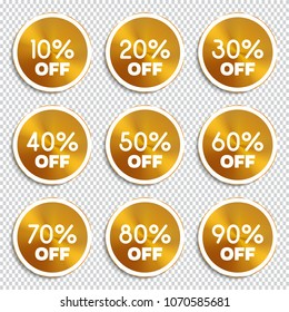 Discount banners. Vector illustration.  -10% -20% -30% -40% -50% -60% -70% -80% -90% off icons.