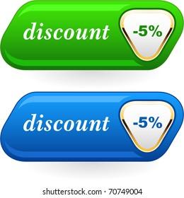Discount button templates. Vector illustration.