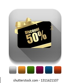 Discount card. With long shadow over app button