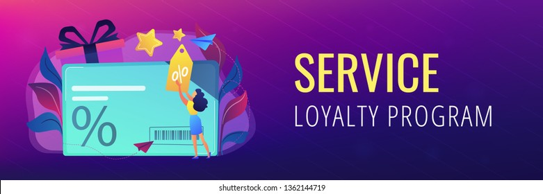 Discount card with percent sign and woman with discount tag. Loyalty program and customer service, retail and rewards card, loyalty points card concept, violet palette. Header, footer banner template.
