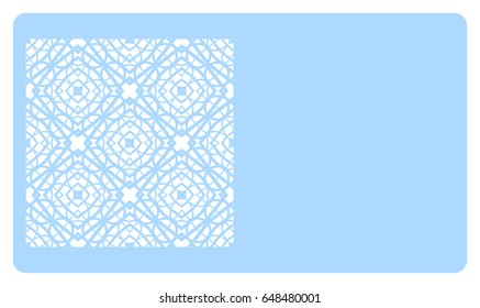 discount card template with geometric ornament for cut out. Vector illustration.
