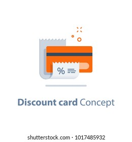 Discount card, till slip, loyalty program, credit card payment, vector flat icon