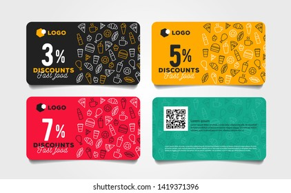 Discount card or voucher fast food template design with linear pattern of food and drinks