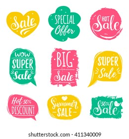 Discount cards set of Special Offer, Hot, Super, Big, Summer Sale etc. Hand drawn collection of labels and logos. Vector set of comic speech bubbles stickers.
